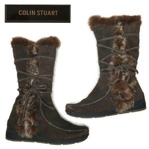 Colin Stuart fur and suede lace up boots size 9.5